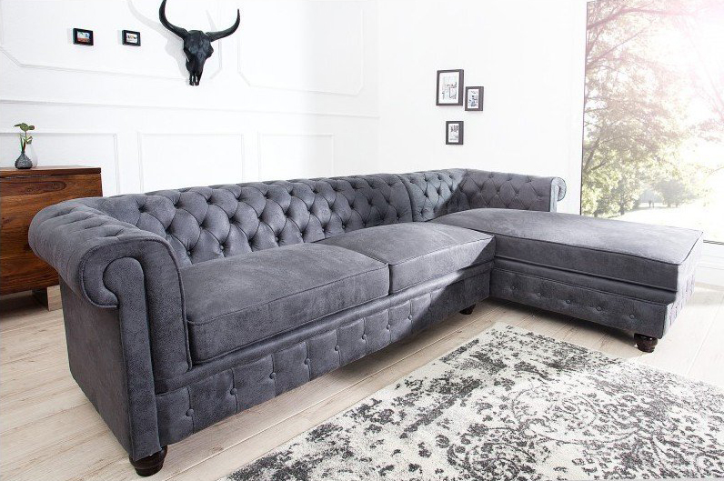 canap chesterfield d 39 angle avec m ridienne authentique ultra tendance. Black Bedroom Furniture Sets. Home Design Ideas